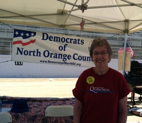 Making a speech at the Democratic Booth at July 4th festivities at Fullerton Stadium in support of Sharon Quirk-Silva for 65th Assembly District.
