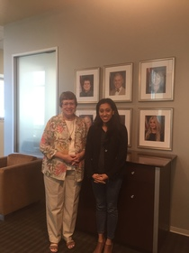 Mary Hornbuckle and Scherly Virgill at the Coast Community College Board of Trustees District Office.