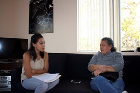 Dora Olivia Magaña Burgos with interviewer, Scherly Virgill, 2015.