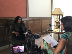 Jan Perry being interviewed by Natalie Fousekis during her oral history interview, 2016.