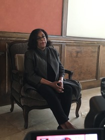 Jan Perry during her oral history interview, 2016.
