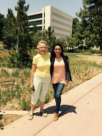 Sue Tsuda with interviewer, Scherly Virgill, outside the Education Building at California State University, Fullerton, 2016.