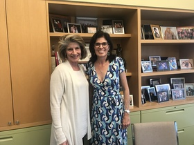 Kathy Spillar with interviewer, Natalie Fousekis, 2018.