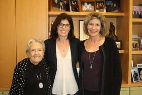 Peg Yorkin (left), Natalie Fousekis (center), and Kathy Spillar (right) at Feminist Majority Foundation offices, 2017.