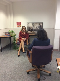 Sharon Quirk-Silva being interviewed by Natalie M. Fousekis, 2017.