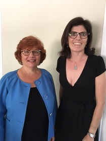 Beth Krom with interviewer, Natalie Fousekis, after the interview, 2017.