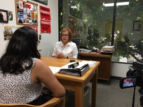 Maria Elena Durazo during her interview, 2017.