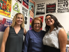 Maria Elena Durazo (center) with Analia Cabral (right) and Abby Waldrop (left) after interview, 2017.