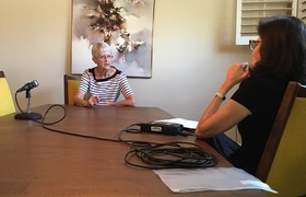 Barbara Stone being interviewed by Natalie Fousekis, 2017.